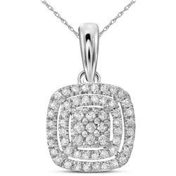 14kt White Gold Womens Round Diamond Cushion Cluster Pendant 1/3 Cttw