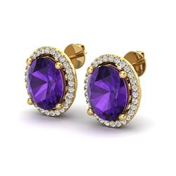 5 ctw Amethyst & Micro Pave VS/SI Diamond Earrings 18k Yellow Gold