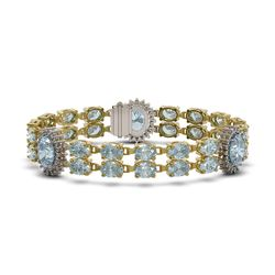 19.3 ctw Sky Topaz & Diamond Bracelet 14K Yellow Gold