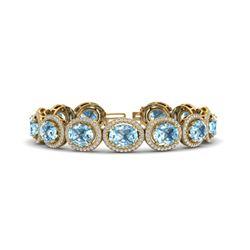 30 ctw Sky Blue Topaz & Micro Pave VS/SI Diamond Bracelet 10k Yellow Gold