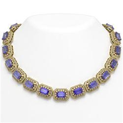 112.65 ctw Tanzanite & Diamond Victorian Necklace 14K Yellow Gold