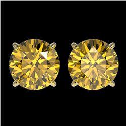 2.50 ctw Certified Intense Yellow Diamond Stud Earrings 10k Yellow Gold