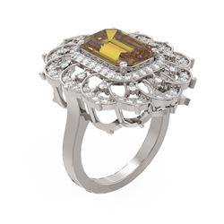 5.39 ctw Canary Citrine & Diamond Ring 18K White Gold