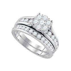 14kt White Gold Womens Round Diamond Cluster Bridal Wedding Engagement Ring Set 1-1/2 Cttw
