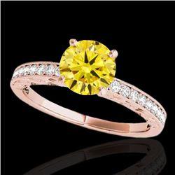 1.43 ctw Certified SI Intense Yellow Diamond Antique Ring 10k Rose Gold