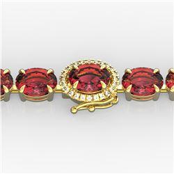 17.25 ctw Pink Tourmaline & Diamond Micro Bracelet 14k Yellow Gold