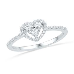 10kt White Gold Womens Round Diamond Slender Framed Heart Cluster Ring 1/3 Cttw