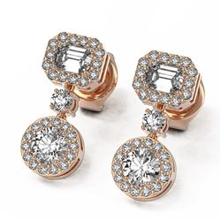1.73 ctw Emerald Cut Diamond Designer Earrings 18K Rose Gold