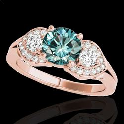 1.45 ctw SI Certified Fancy Blue Diamond 3 Stone Ring 10k Rose Gold