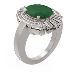 7.72 ctw Emerald & Diamond Ring 18K White Gold