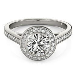 1.3 ctw Certified VS/SI Diamond Solitaire Halo Ring 14k White Gold