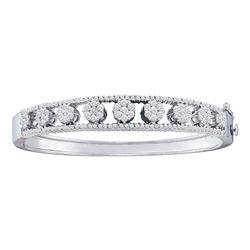 14kt White Gold Womens Round Diamond Bangle Flower Cluster Bracelet 2-3/8 Cttw