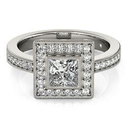 1.11 ctw Certified VS/SI Princess Diamond Halo Ring 14k White Gold