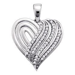 10kt White Gold Womens Round Diamond Striped Heart Pendant 1/6 Cttw