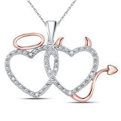 14kt Two-tone Gold Womens Round Diamond Angel Devil Heart Pendant 1/20 Cttw