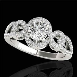 1.38 ctw Certified Diamond Solitaire Halo Ring 10k White Gold
