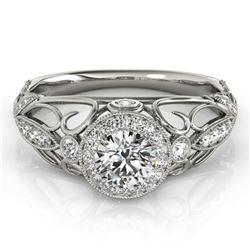 0.93 ctw Certified VS/SI Diamond Antique Ring 14k White Gold