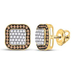 10kt Yellow Gold Womens Round Brown Diamond Square Frame Cluster Earrings 1.00 Cttw