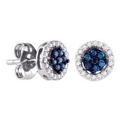 14kt White Gold Womens Round Blue Color Enhanced Diamond Cluster Stud Screwback Earrings 1/4 Cttw