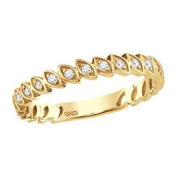 10kt Yellow Gold Womens Round Diamond Ovals Stackable Band Ring 1/10 Cttw