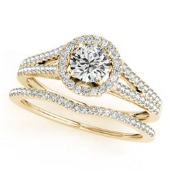 0.96 ctw Certified VS/SI Diamond 2pc Wedding Set Halo 14k Yellow Gold