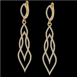 1.90 ctw Micro Pave VS/SI Diamond Certified Earrings 14k Yellow Gold