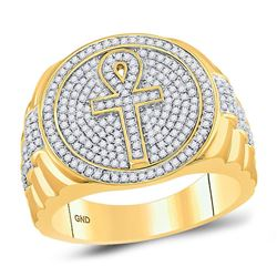 10kt Yellow Gold Mens Round Diamond Ankh Cross Cluster Ring 3/4 Cttw