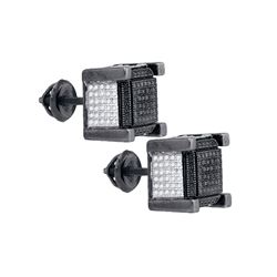 Sterling Silver Mens Round Black Color Enhanced Diamond 3D Cube Stud Earrings 1/10 Cttw
