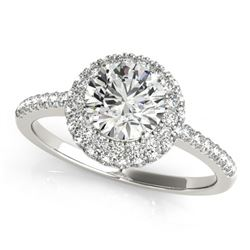 1.1 ctw Certified VS/SI Diamond Solitaire Halo Ring 14k White Gold