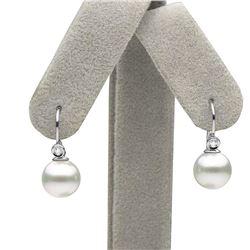 White South Sea Pearl and Diamond Shepherd Hook Earrings