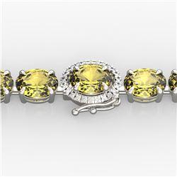 29 ctw Citrine & VS/SI Diamond Micro Pave Bracelet 14k White Gold