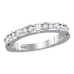 14kt White Gold Womens Machine-set Round Diamond Wedding Band Ring 3/4 Cttw