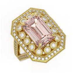 6.08 ctw Certified Morganite & Diamond Victorian Ring 14K Yellow Gold