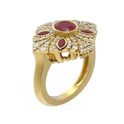 2.32 ctw Ruby & Diamond Ring 18K Yellow Gold