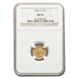 1855-O $1 Indian Head Gold AU-55 NGC