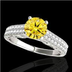 1.41 ctw Certified SI Intense Yellow Diamond Antique Ring 10k White Gold