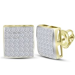 14kt Yellow Gold Womens Princess Diamond Square Cluster Earrings 2.00 Cttw