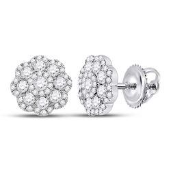 14kt White Gold Womens Round Diamond Flower Cluster Earrings 1.00 Cttw