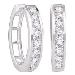 14kt White Gold Womens Round Diamond Hoop Earrings 1.00 Cttw