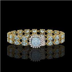 14.93 ctw Aquamarine & Diamond Bracelet 14K Yellow Gold