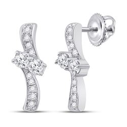 14kt White Gold Womens Round Diamond Drop Bypass 2-stone Earrings 1/4 Cttw