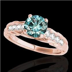 1.2 ctw SI Certified Fancy Blue Diamond Solitaire Ring 10k Rose Gold