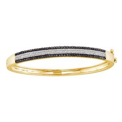 14kt Yellow Gold Womens Round Black Color Enhanced Diamond Bangle Bracelet 1-3/8 Cttw