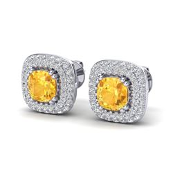 2.16 ctw Citrine & Micro VS/SI Diamond Earrings Halo 18k White Gold