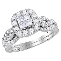 10kt White Gold Womens Princess Diamond Bridal Wedding Engagement Ring Band Set 1.00 Cttw