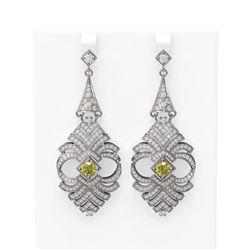 6.56 ctw Fancy Yellow Diamond Earrings 18K White Gold
