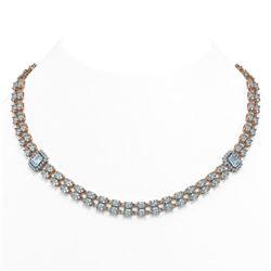 31.65 ctw Aquamarine & Diamond Necklace 14K Rose Gold