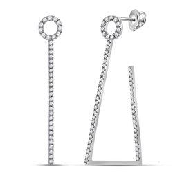 14kt White Gold Womens Round Diamond Triangular Hoop Earrings 3/4 Cttw