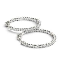 1.25 ctw Diamond VS/SI 25 MM Hoop Earrings 14k White Gold