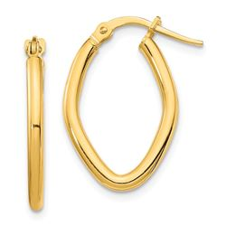 14k Yellow Gold Small Oval Hoop Earrings - 2 mm